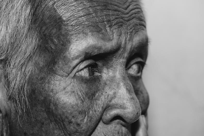 The old woman`s felling lonely. ,she`s senior woman in family and the elderly. royalty free stock image