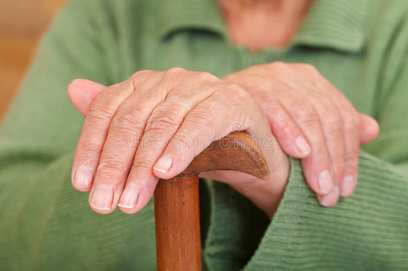 Download Old woman's hands stock image. Image of hand, cane, disability - 30275559