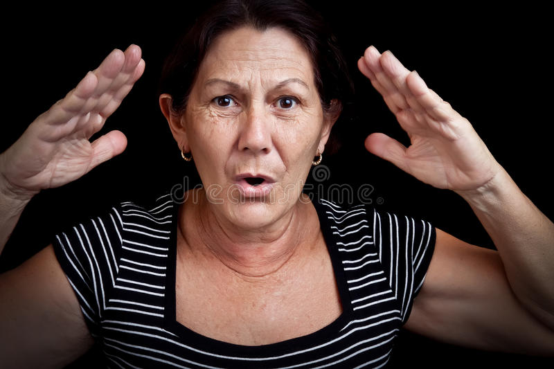 Download Old woman screaming stock image. Image of gesture, cheering - 24074833