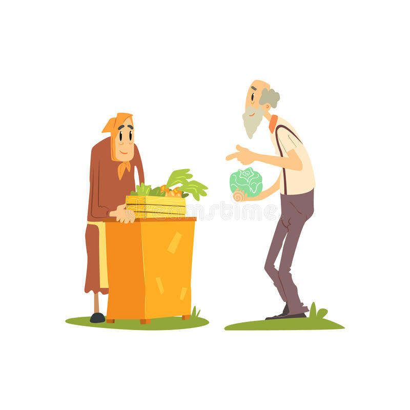 Old Woman Selling Vegetables vector illustration