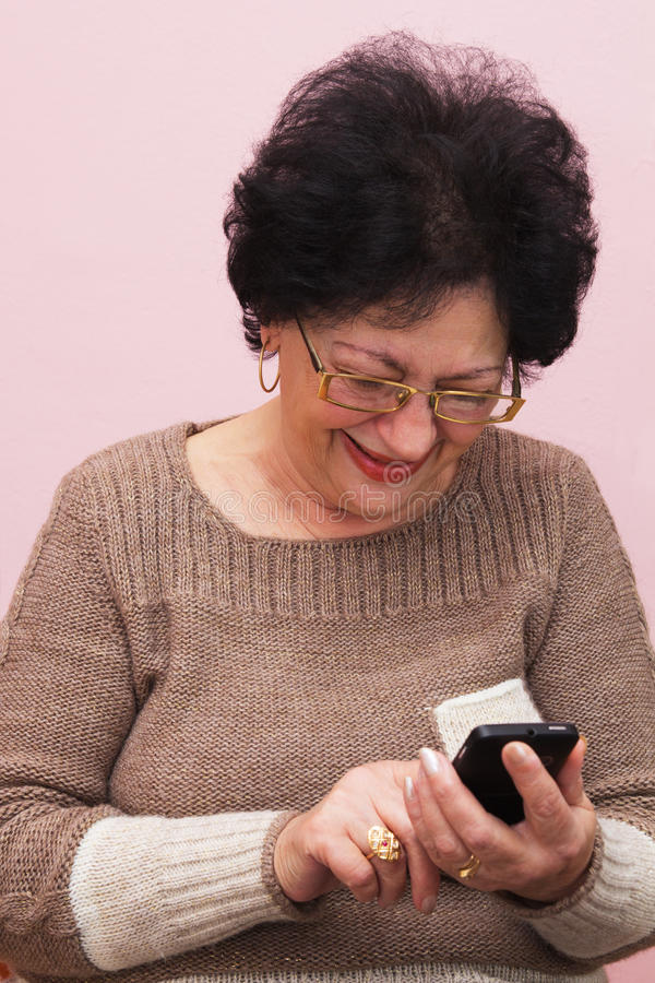 Download Old Woman and Smart Phone. stock image. Image of home - 39502207