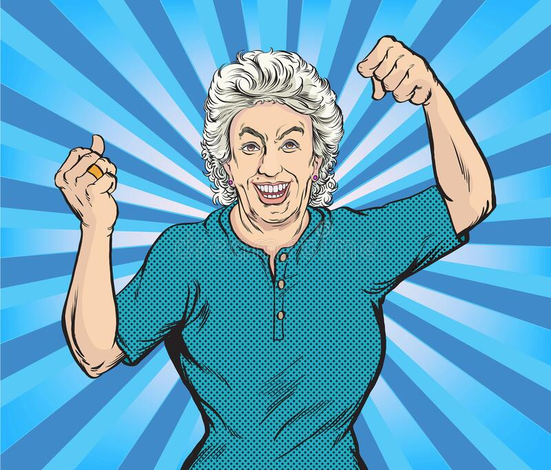 The old woman smiled happily and showed strength.Pop art vector illustration drawing,Comic book work style. Separate images of people from the background royalty free illustration