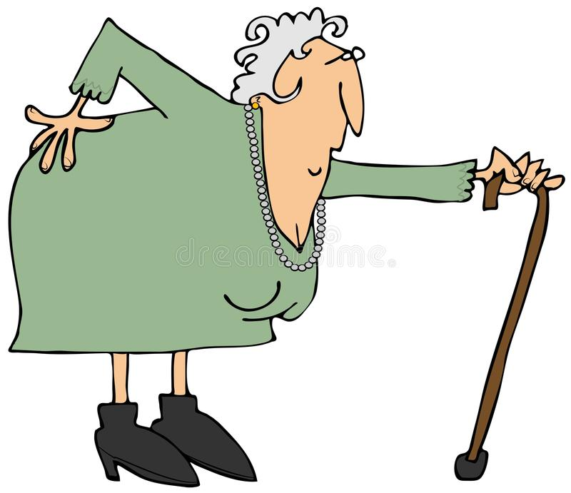 Old woman with a sore back stock illustration