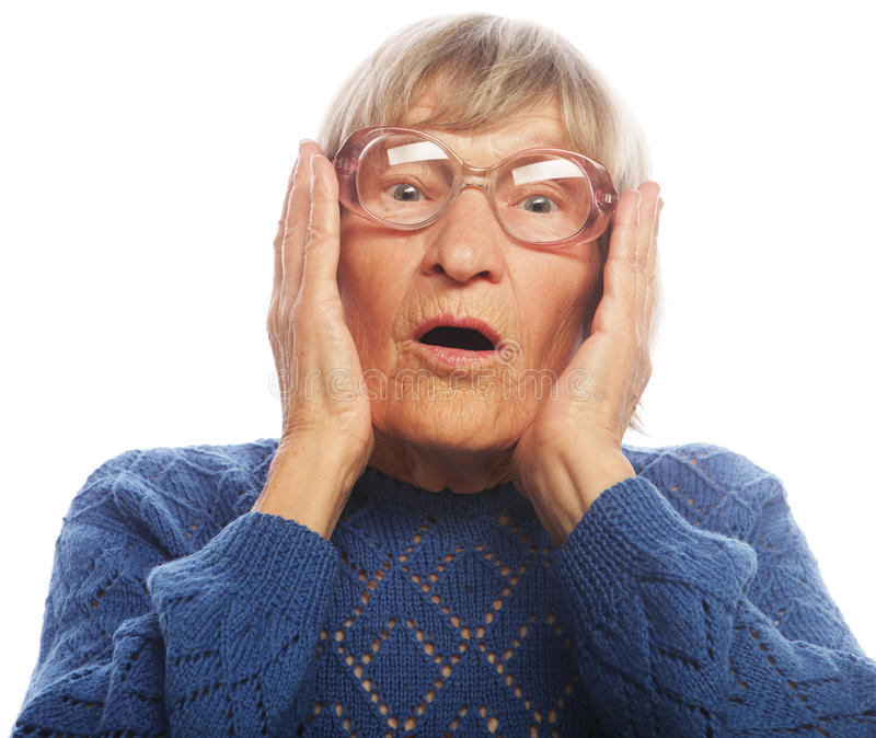 Old Woman with surprised expression stock photography
