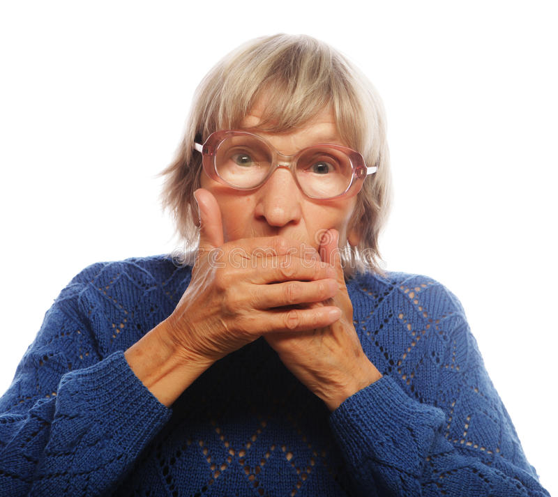 Old Woman with surprised expression. On her face stock photography