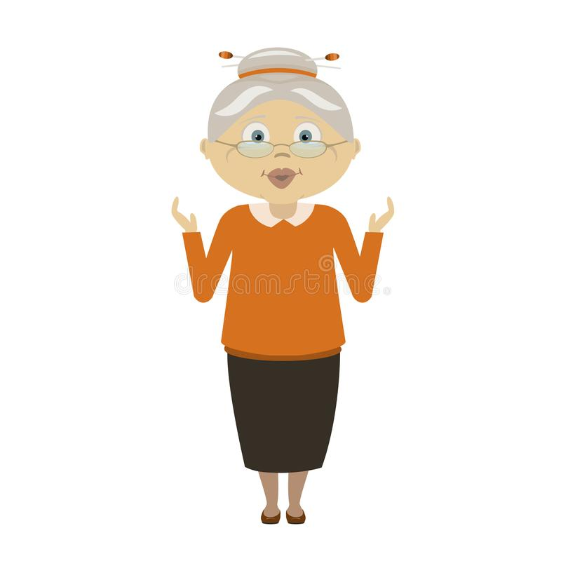 Old woman surprised and scared royalty free illustration