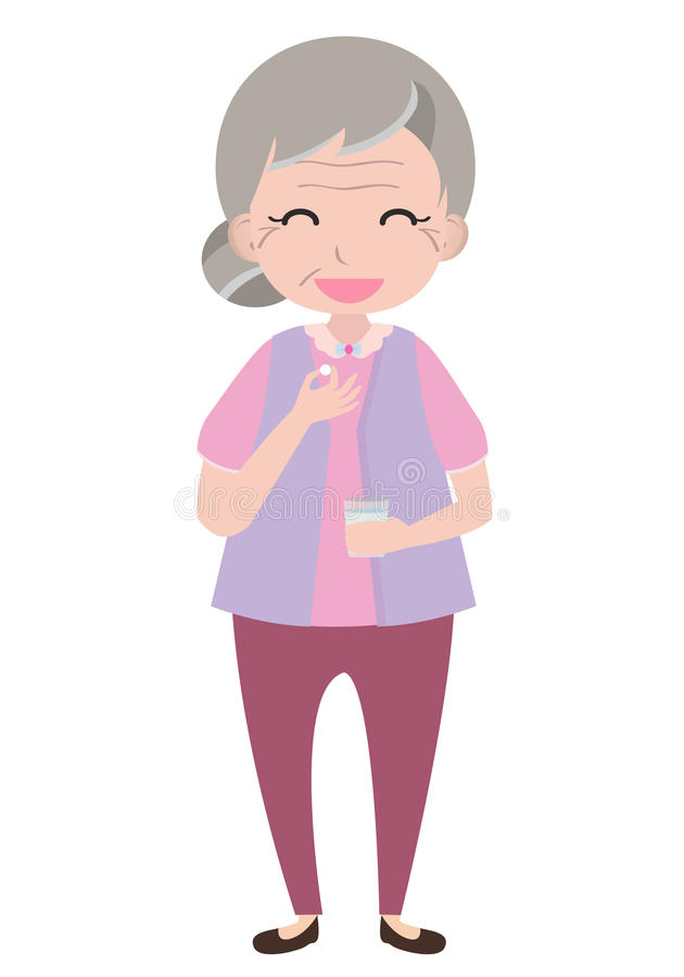 Old woman taking medicine royalty free illustration