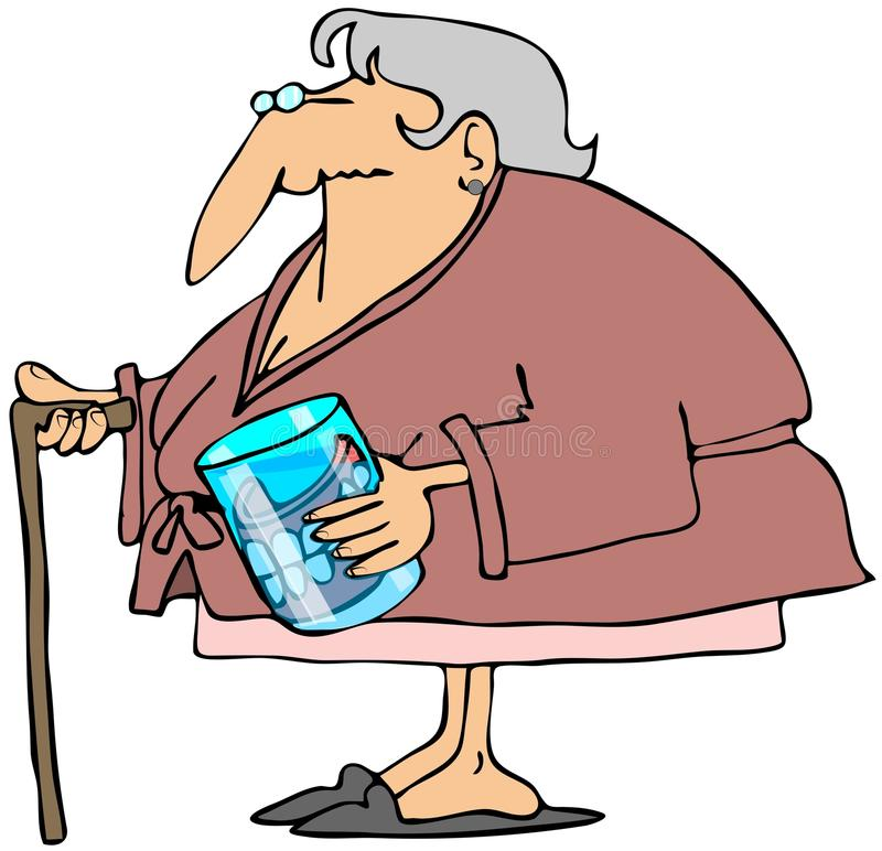 Download Old Woman With Teeth In A Glass Stock Illustration - Illustration of water, senior: 30925562