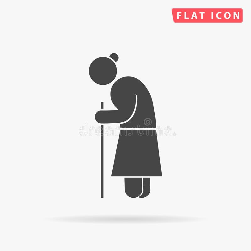 Old woman walking with cane. Grandmother character royalty free illustration