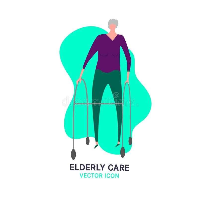 Nursing House Icon. The old woman, walking in zimmer frame. Elderly people problem. Nursing house. Medicine, healthy lifestyle concept. Editable vector royalty free illustration