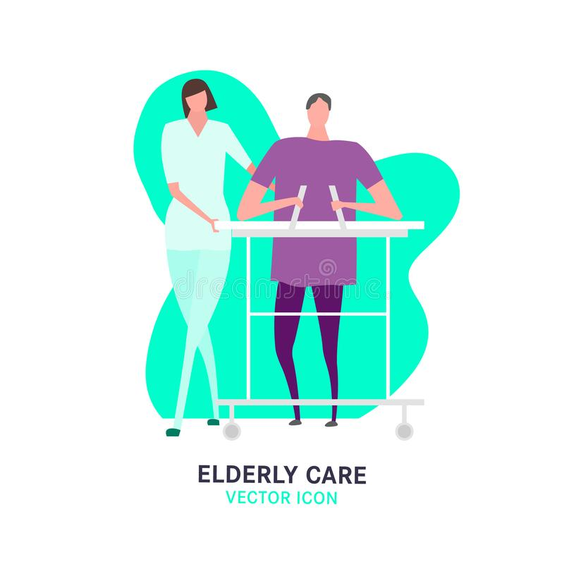 Nursing House Icon. The old woman, walking in zimmer frame. Elderly people problem. Nursing house. Medicine, healthy lifestyle concept. Editable vector vector illustration