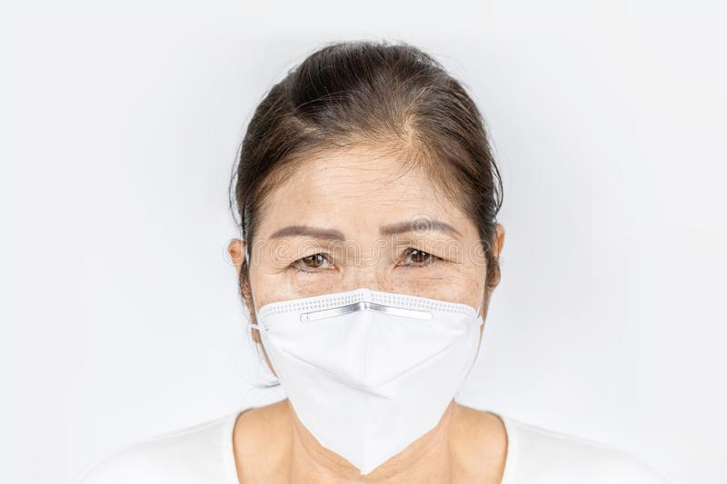For Healthy N95 Old - Stock Woman Wearing Face Image Of Mask