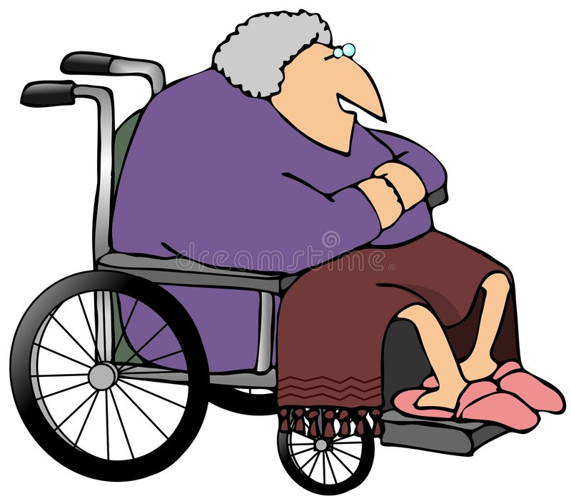 Download Old Woman In A Wheelchair stock illustration. Illustration of senior - 4008127