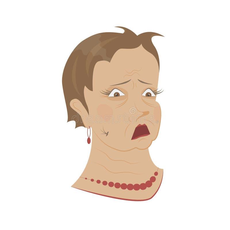 Old womans portrait vector illustration