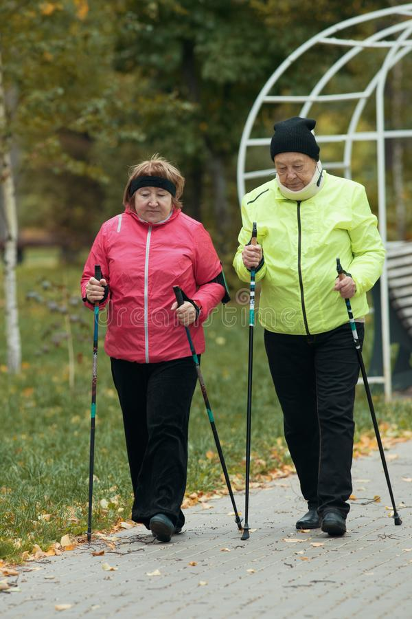 Old women in jackets walking on sidewalk in an autumn park during a scandinavian walk. Talking royalty free stock images