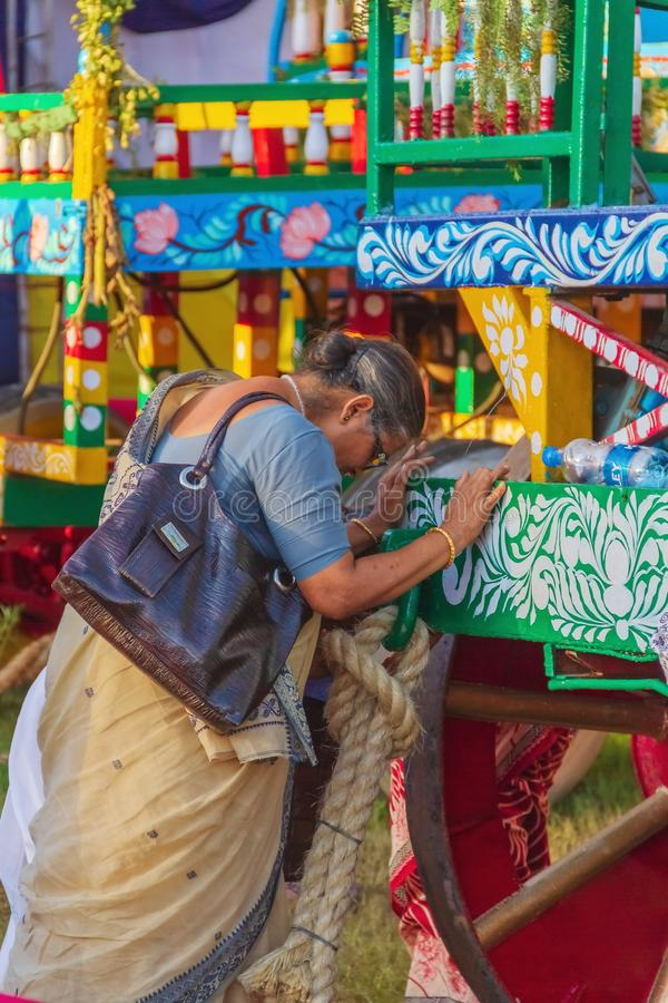 A Old Women Praying on Rath Yatra. A Old Women Praying on Chariot of Jagannath at Rath Yatra Festival in India royalty free stock photos