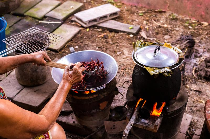 Old women roast dried red chilies in a pan near Rice cooker royalty free stock images