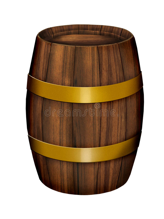 Old wood barrel. Illustration on white background stock illustration