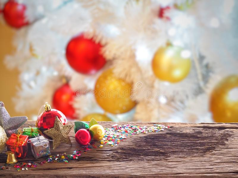 Old wood board And decorations in the space available for placing objects. Background Blur Christmas Decoration and New Year conce stock photos