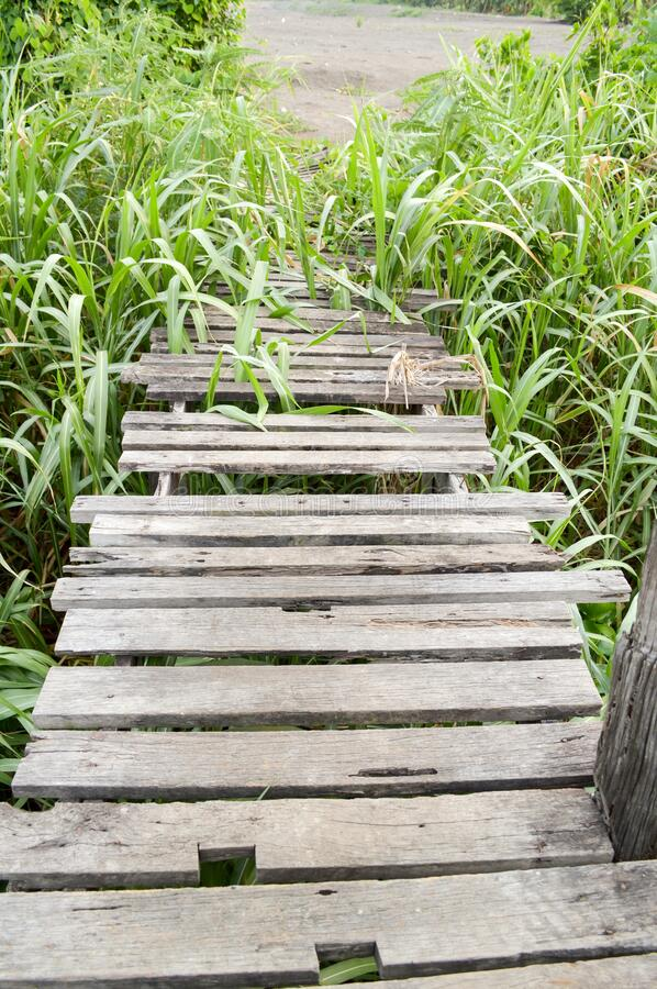 Old wood bridge in country thailand. Close up old wood bridge in country thailand stock photo