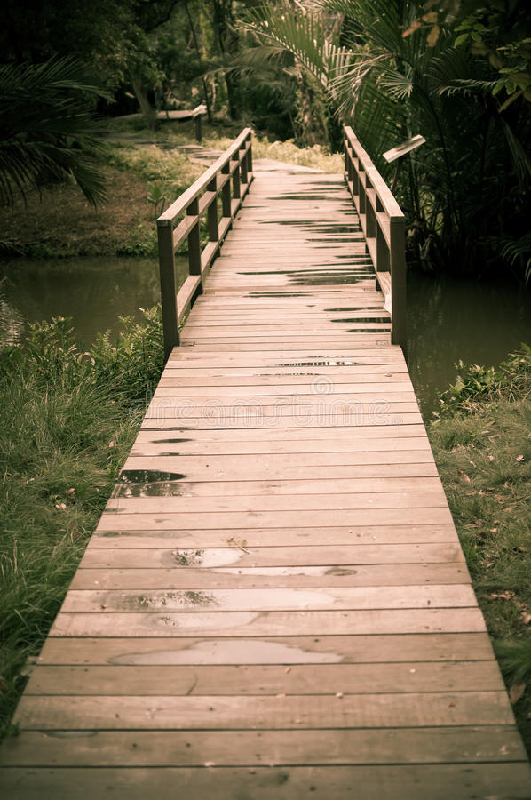 Old wood bridge pathway stock photos