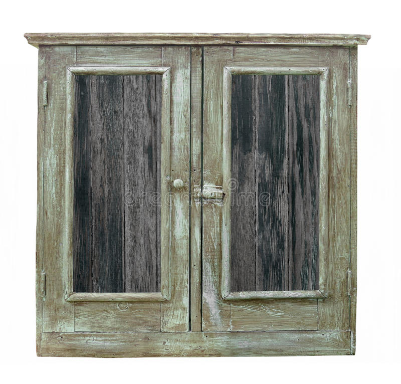 Old wood cabinet with doors isolated. royalty free stock photo