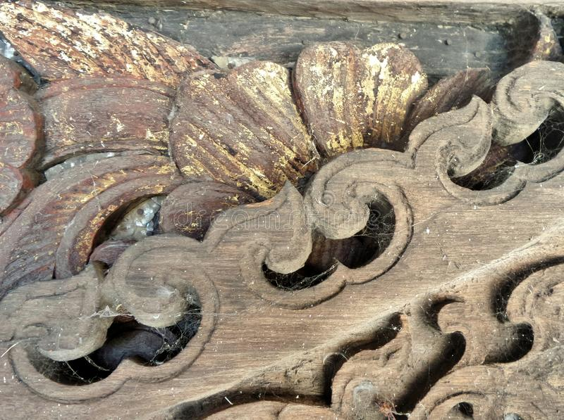 Old wood carving in temple antique store royalty free stock photography