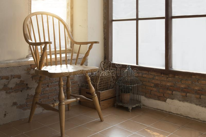 Old wood chair vintage at indoor balcony stock photography