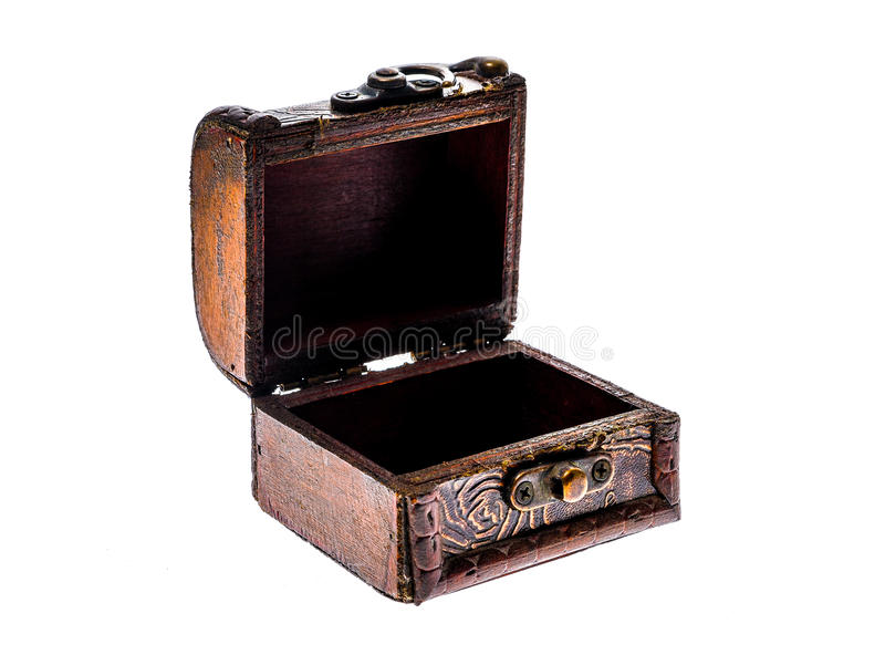 Old wood chest jewelry box closed isolated on white background. stock photo