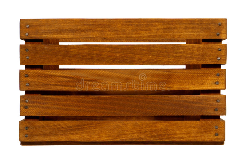 Old Wood Crate with Wooden Slats Isolated on White stock image