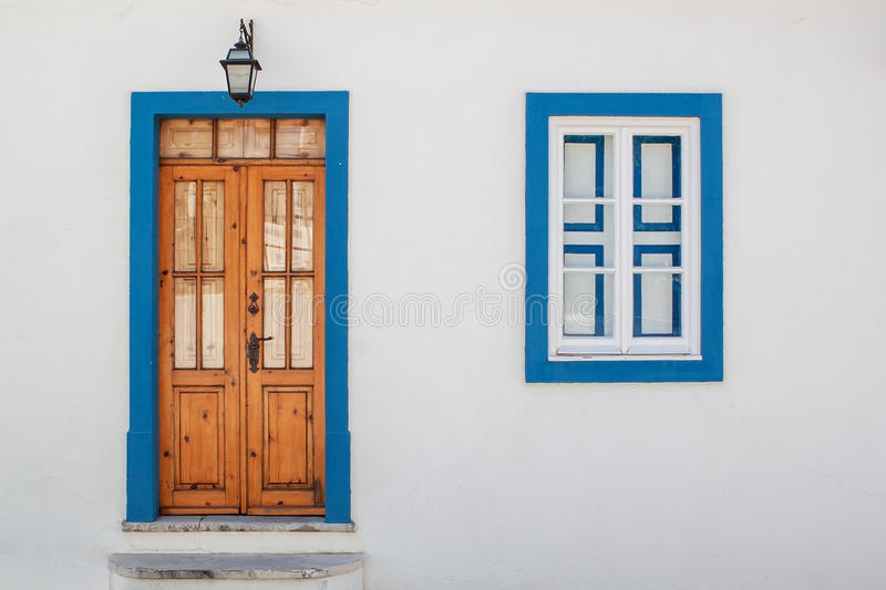 Old Wood Door With Windows. Portugal Algarve. Stock Photo - Image ...
