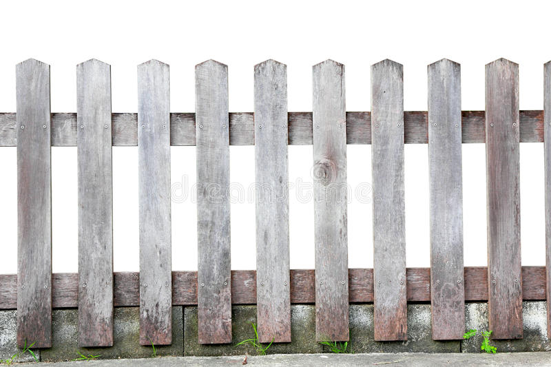Old wood fence. On white background, with clipping paths stock photography