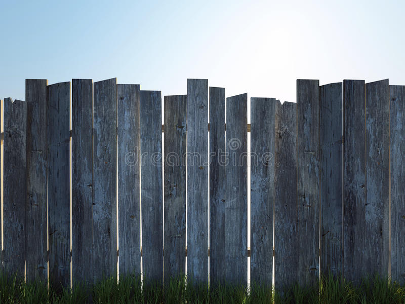 Old wood fence. And grass stock photos