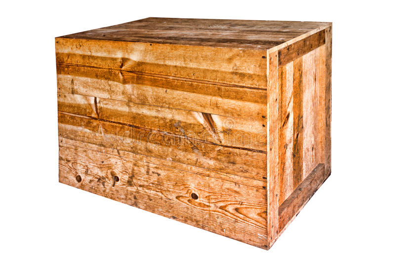 Old Wood Heavy Duty Shipping Crate Isolated