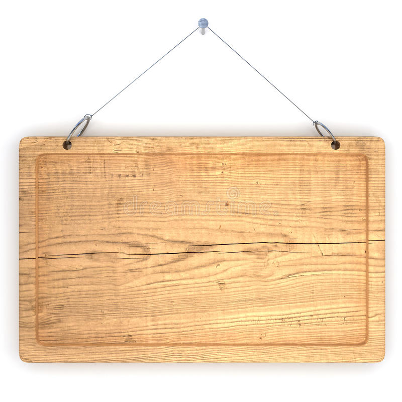 Old wood notice board. Empty notice board made of old wood hanging on a nail royalty free illustration