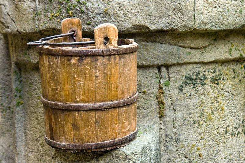 Old wood pail. The old wood pail for water royalty free stock images