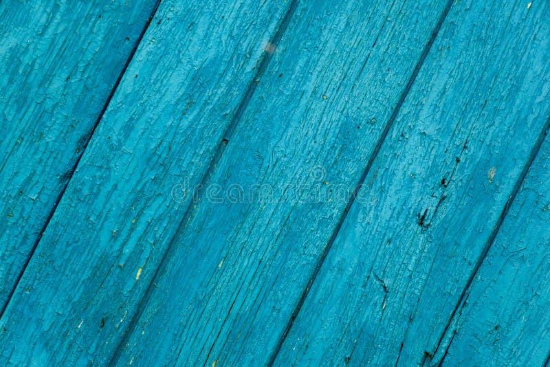 Old wood painted planks diagonal cyan.  royalty free stock image