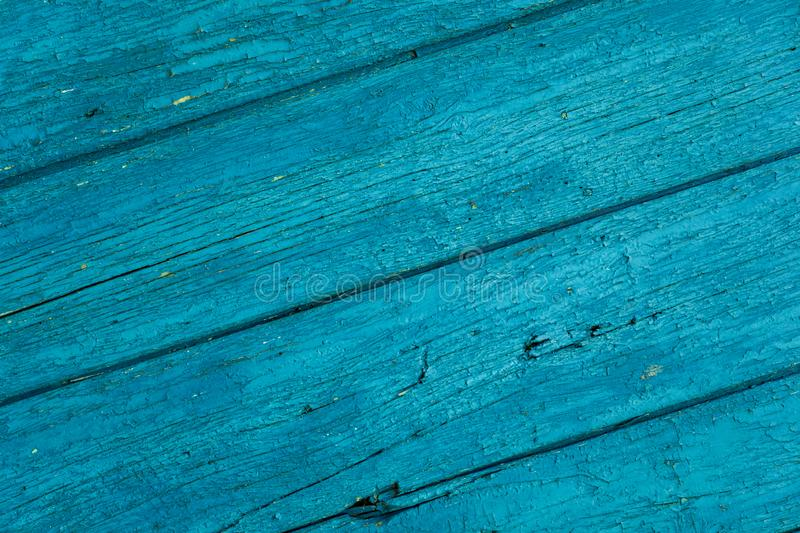 Old wood painted planks diagonal cyan.  royalty free stock images