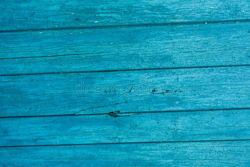 Old wood painted planks horizontal cyan.  royalty free stock photography