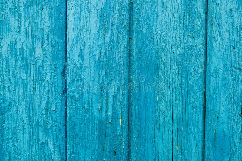 Old wood painted planks vertical cyan.  royalty free stock photo