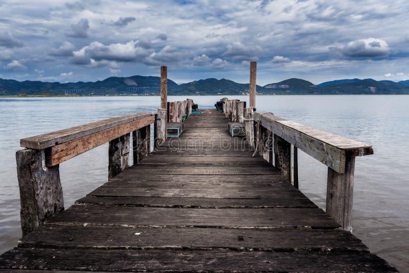 Old wood pier. At Lago di Massaciuccoli royalty free stock photos