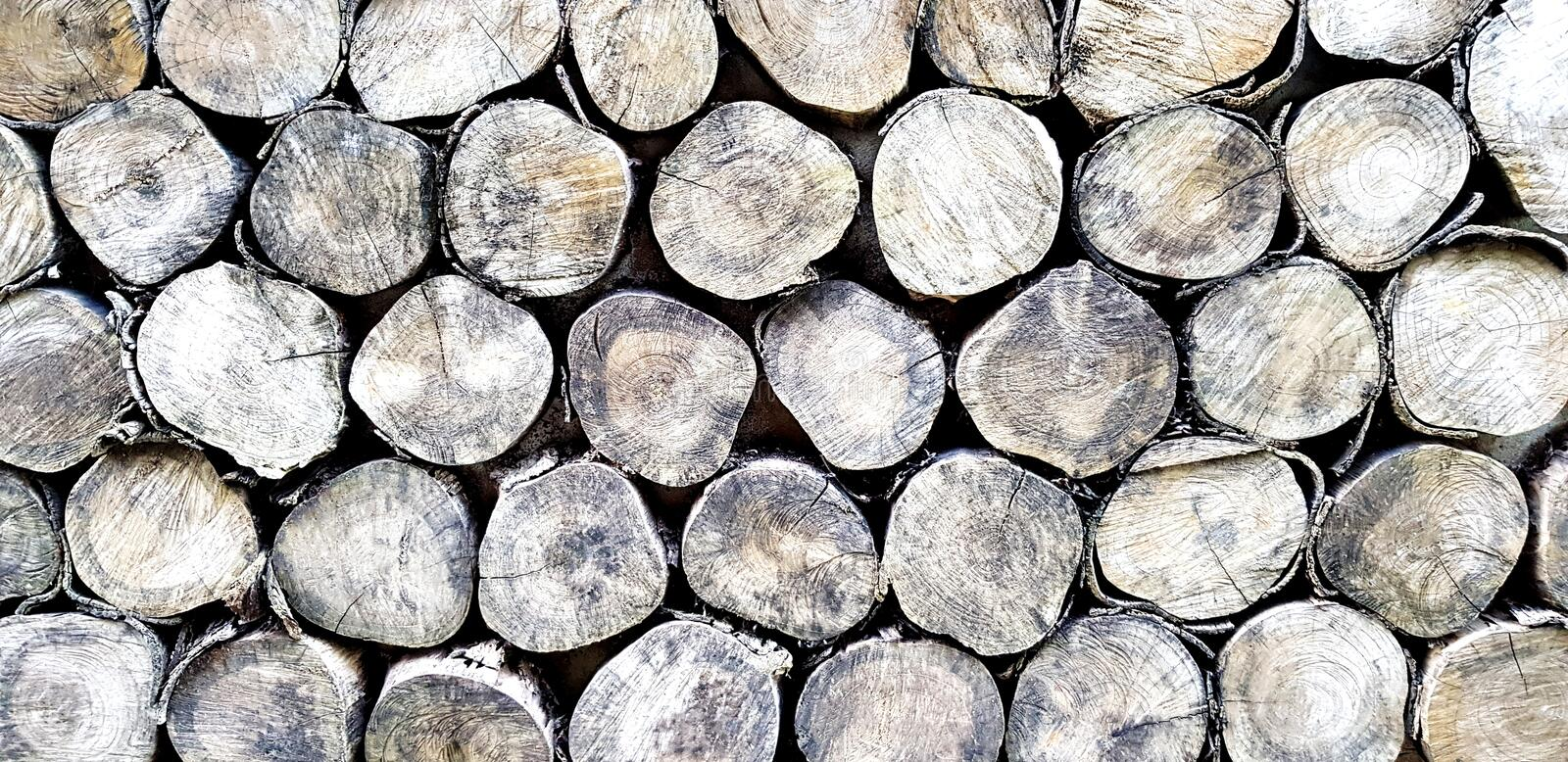 Old wood pile of natural for background. Art of timber wallpaper, Nature material, Abstract and Round shape concept royalty free stock images