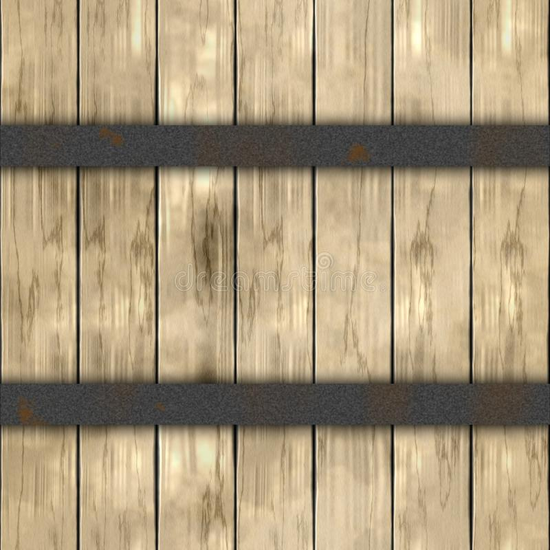 Wood plank barrel wood plank seamless pattern texture background with two silver dark gray rusty metal hoops - light beige stock illustration