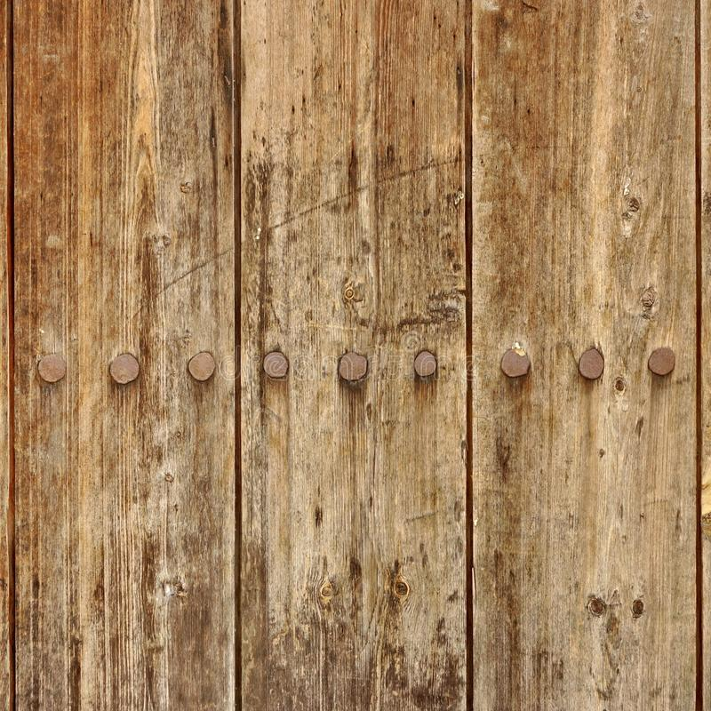 Download Old Wood Plank Panel With Forged Rusty Iron Nails Texture Stock Image