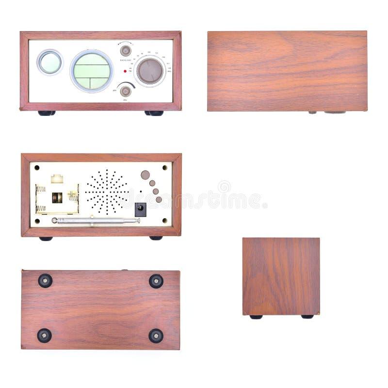 Old wood,retro radio set isolated on background.  stock image