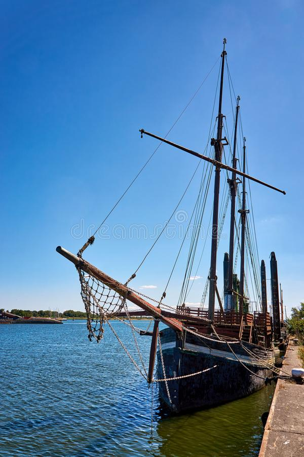 Old wood sailboat in the harbor Peenemünde in the Baltic Sea on the island Usedom stock photo