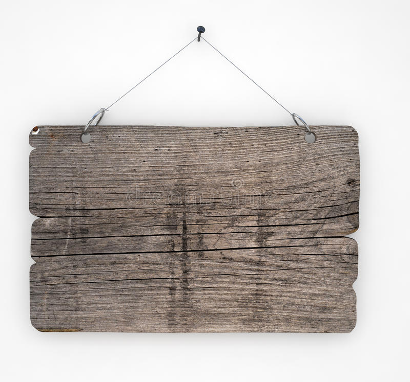 Old wood sign. Hanging on white wall