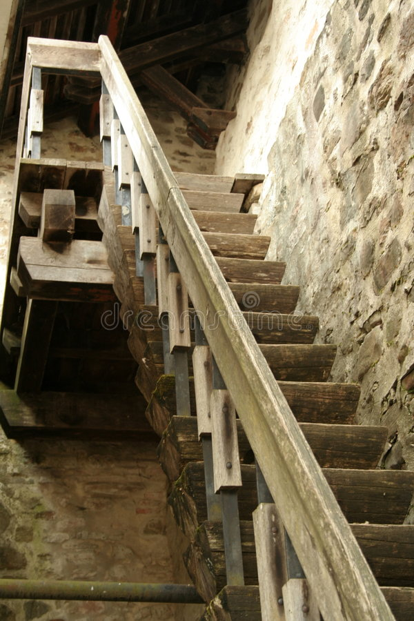Old wood stairs royalty free stock images