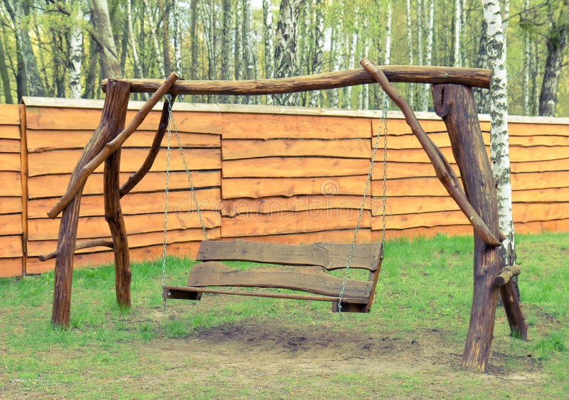 Download Old Wood Swing In The Garden Stock Image - Image: 24901167