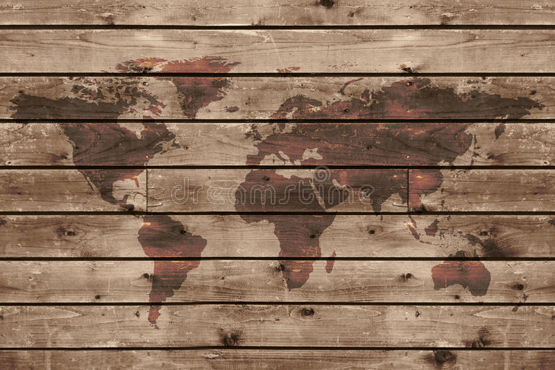 Old wood texture with world map royalty free stock photos
